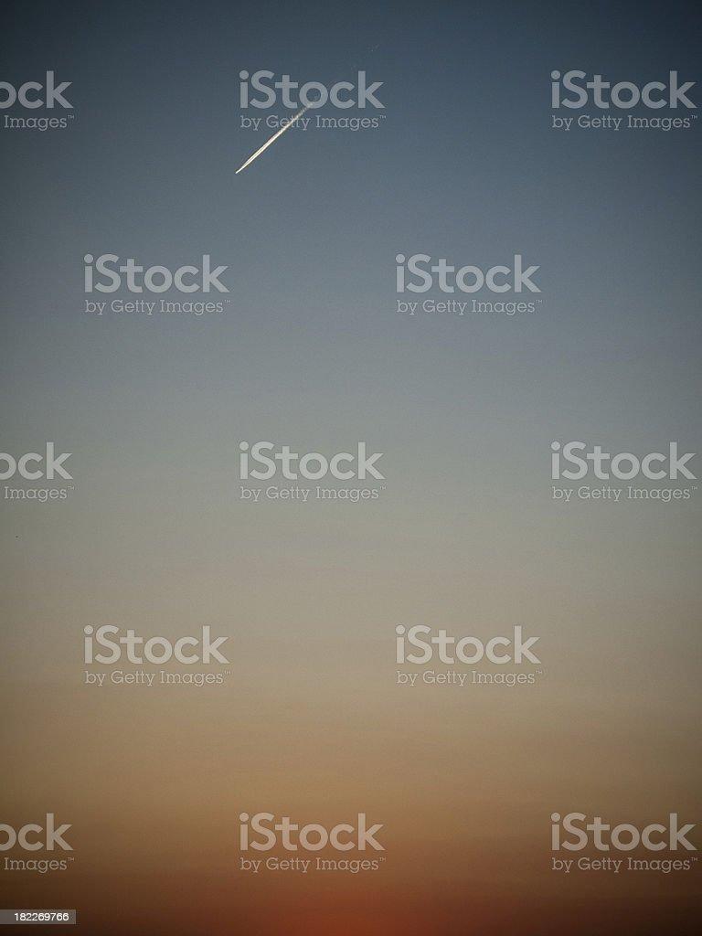 Dusk with Jetplane royalty-free stock photo