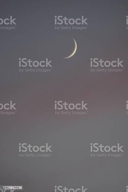 Photo of Dusk with sliver of the Moon. Crescent Moon
