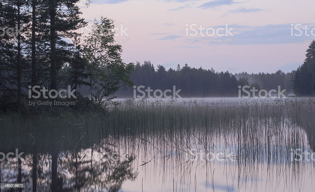 Dusky evening at a lake stock photo