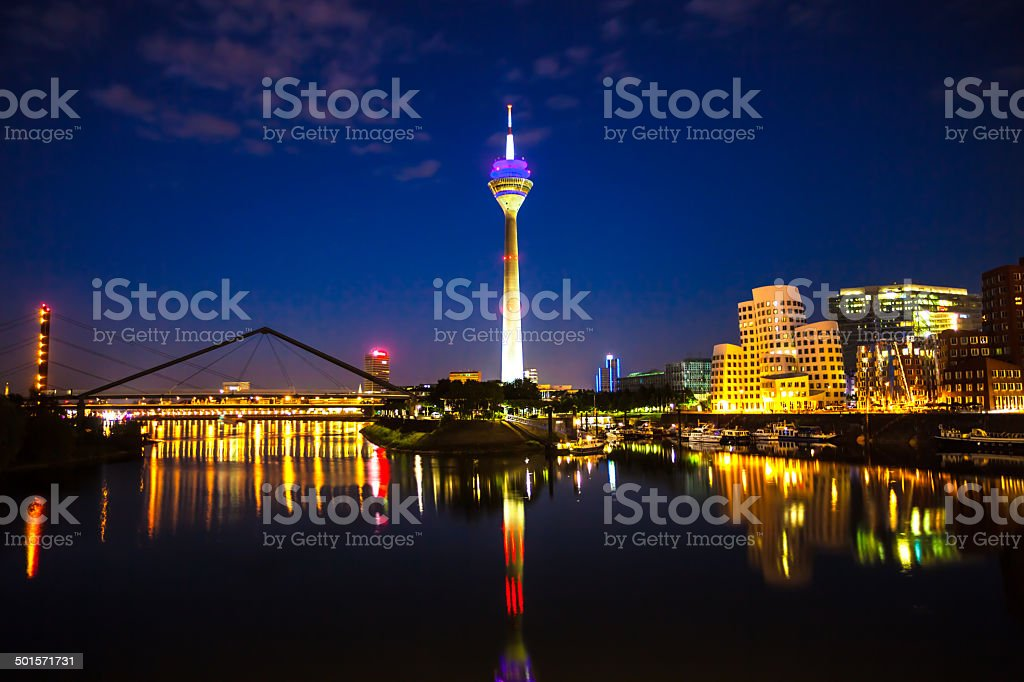 Dusseldorf Media Harbor at Night stock photo