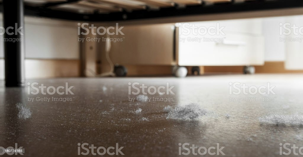 Dust and dirt on a wooden floor stock photo