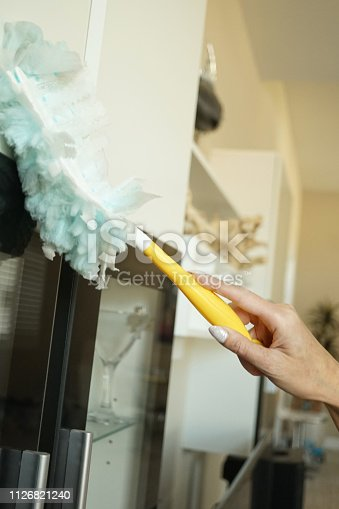shot of towel glass cleaning