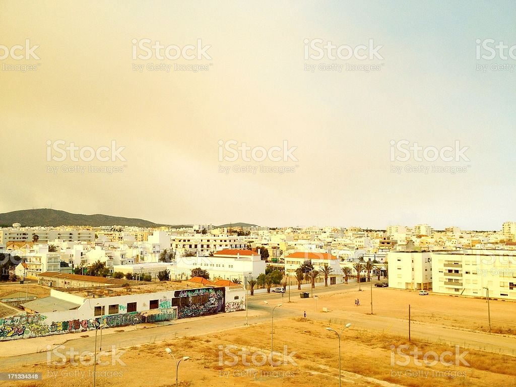 Dust cloud over Olhão, Portugal stock photo