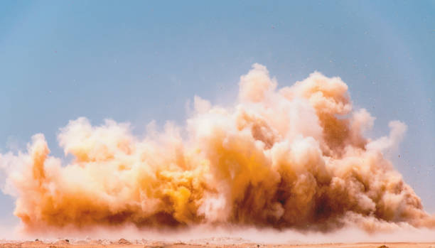 dust clouds of the blasting - desert stock pictures, royalty-free photos & images