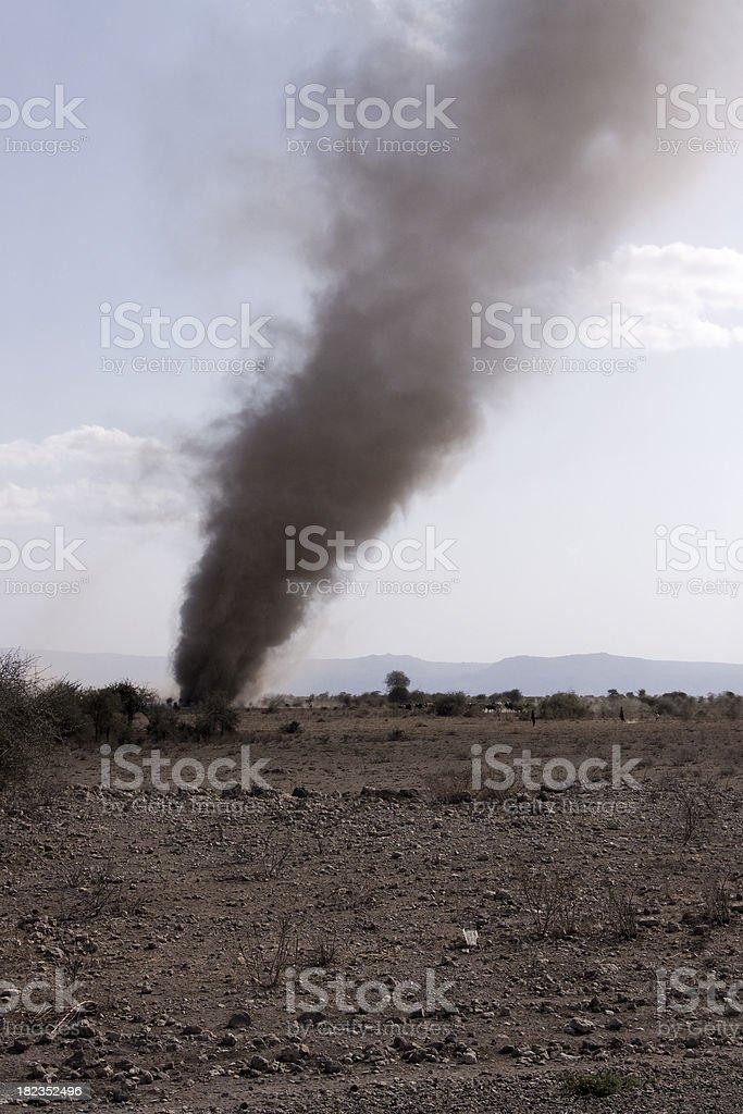 Dust devil on a Tanzanian plane royalty-free stock photo