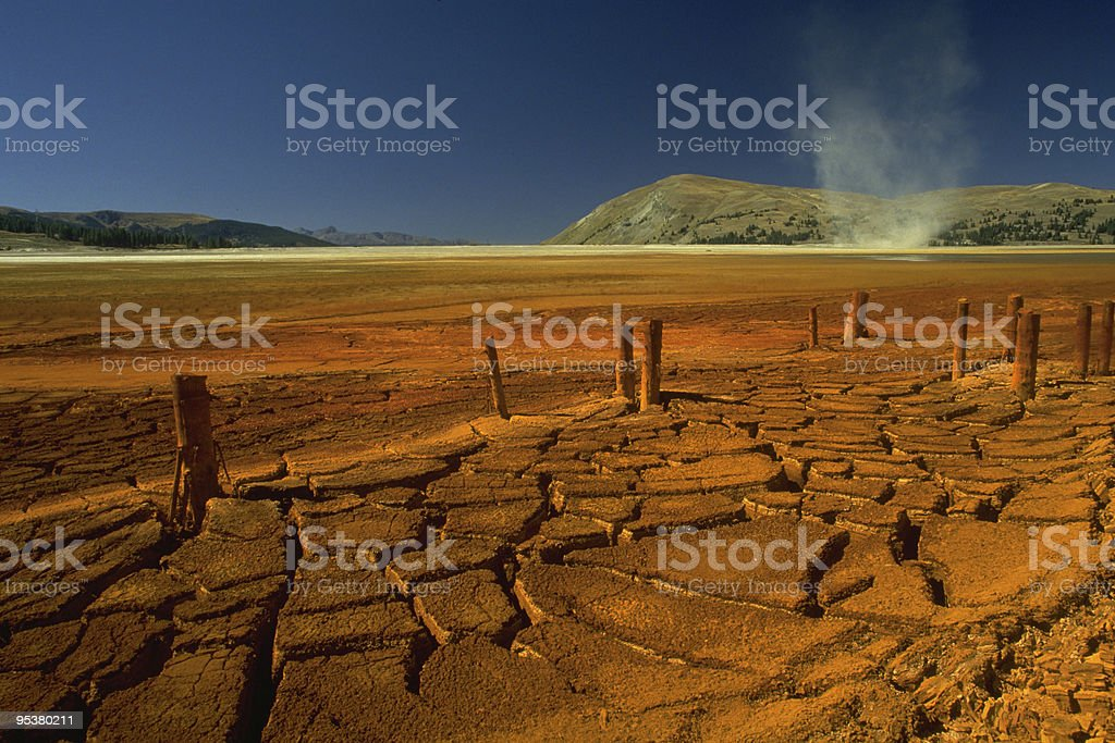 Dust devil on lunar landscape royalty-free stock photo