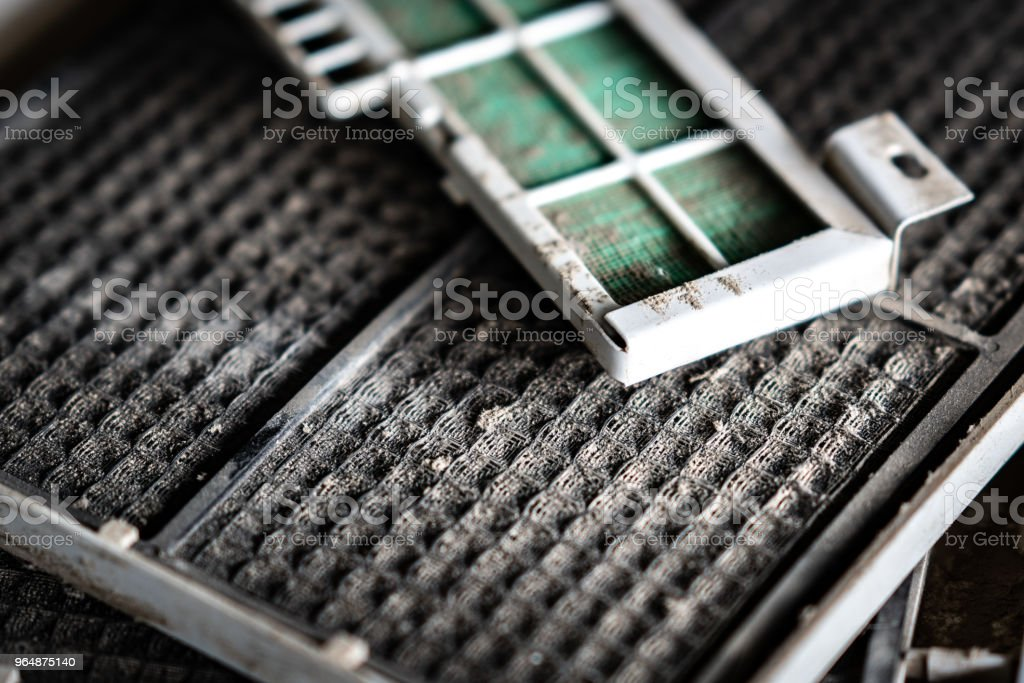 Dust dirty in filter plate of air condition stock photo