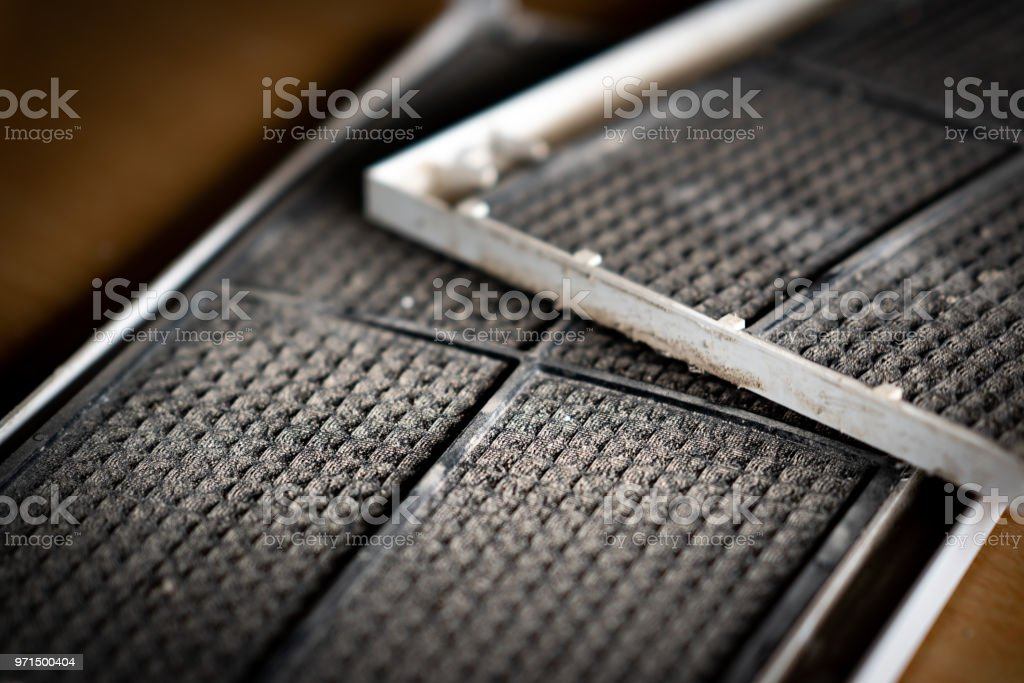 Dust dirty on filter of air conditioner stock photo