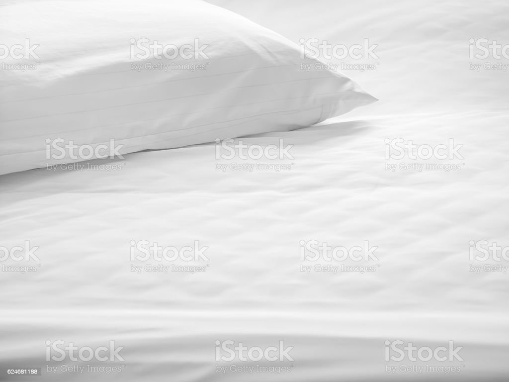 Dust mites pillow and bedding cover. stock photo