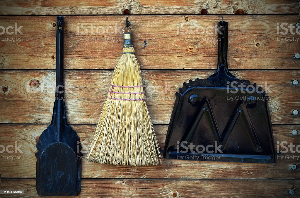 Dust Pan and Small Corn Broom stock photo
