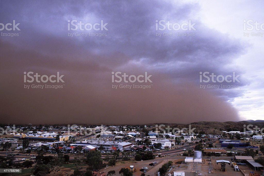 Dust storm approaches remote town royalty-free stock photo