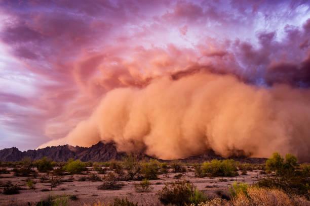 Dust storm at sunset in the Arizona desert. stock photo