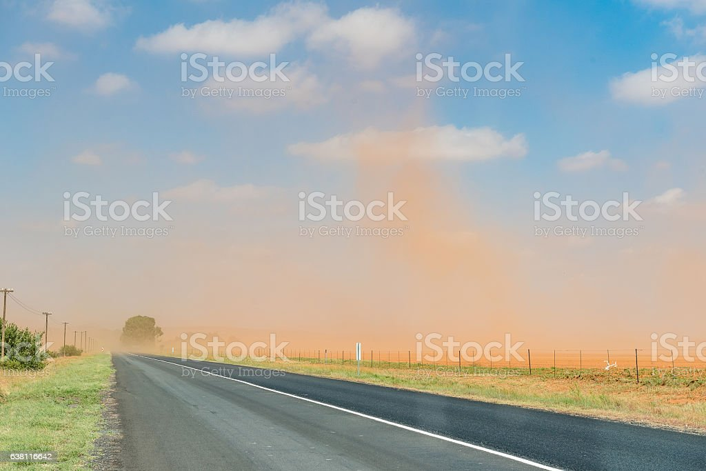 Dust storm between Bloemfontein and Petrusburg stock photo