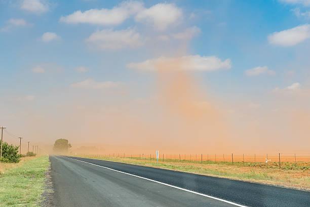 Dust storm between Bloemfontein and Petrusburg stock photo