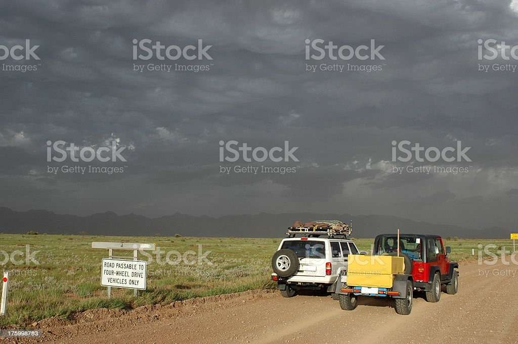 Dust storm near Parachilna, Flinders Ranges, South Australia stock photo