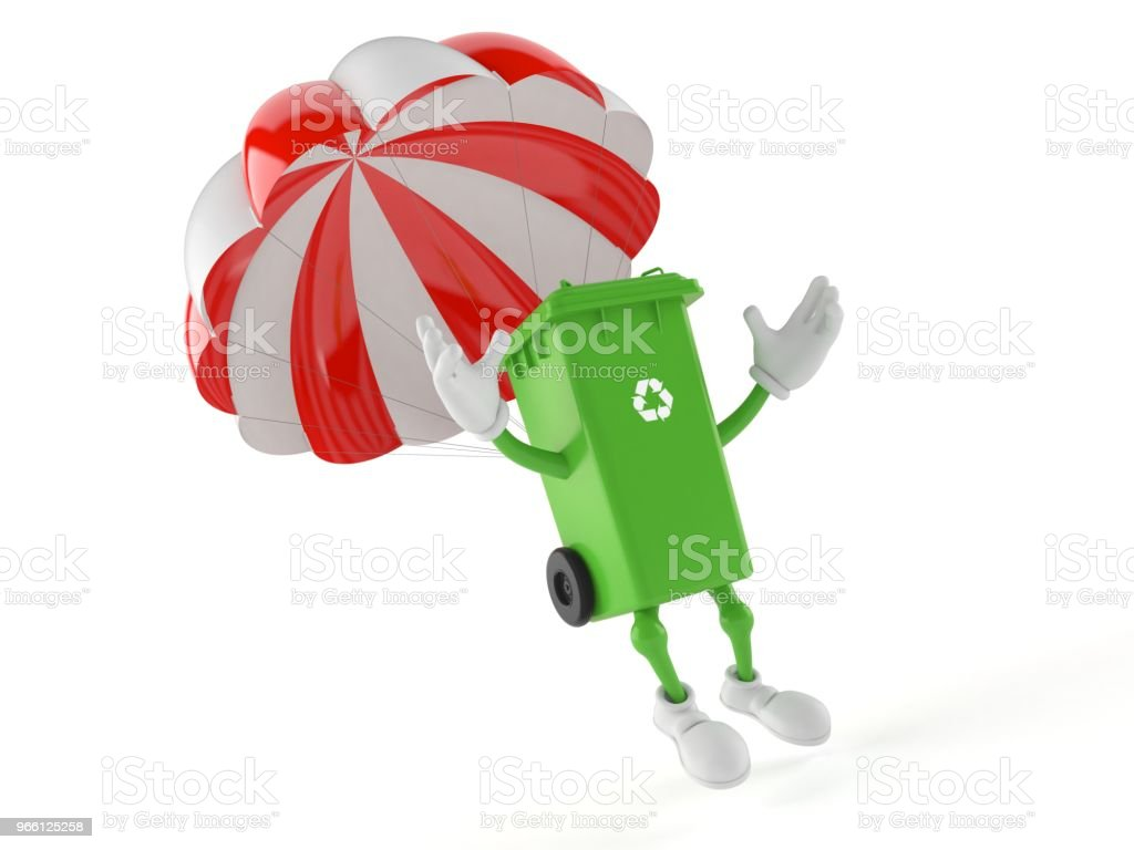 Dustbin character with parachute - Стоковые фото Белый роялти-фри