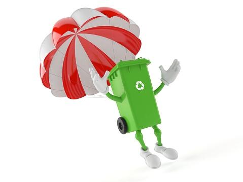 Dustbin Character With Parachute - Fotografias de stock e mais imagens de Balde de Lixo