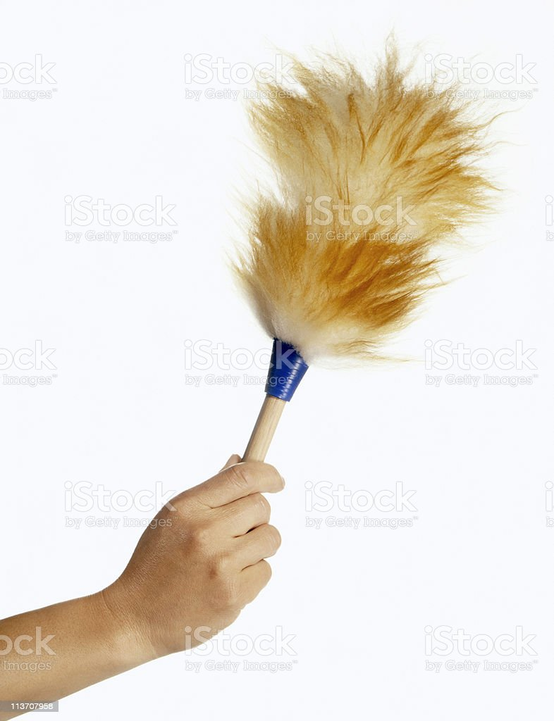 duster cut out on white stock photo