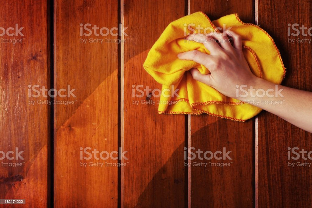 Duster Polishing Wood stock photo