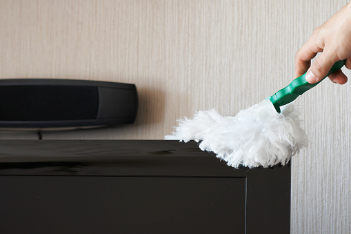Dusting Tv Set Stock Photo - Download Image Now
