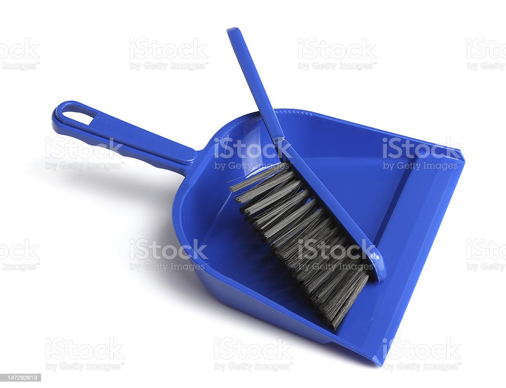 Dustpan and brush stock photo
