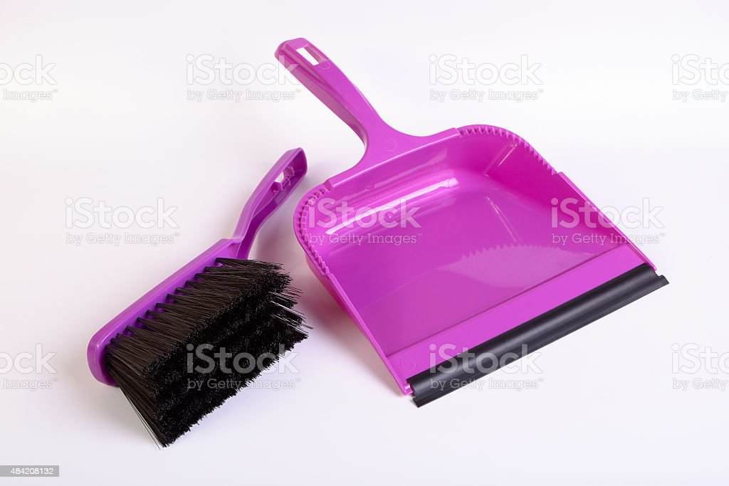 Dustpan and hand brush stock photo