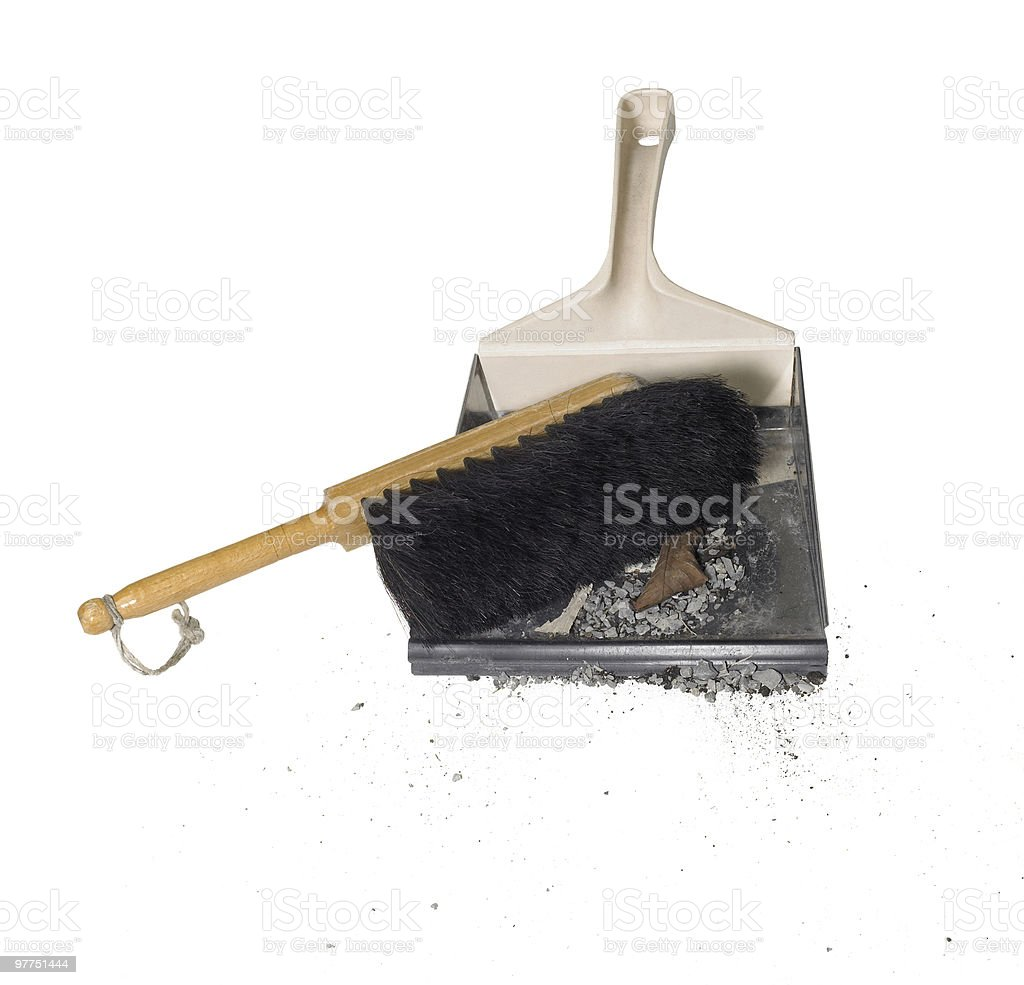 dustpan with besom and dirt stock photo