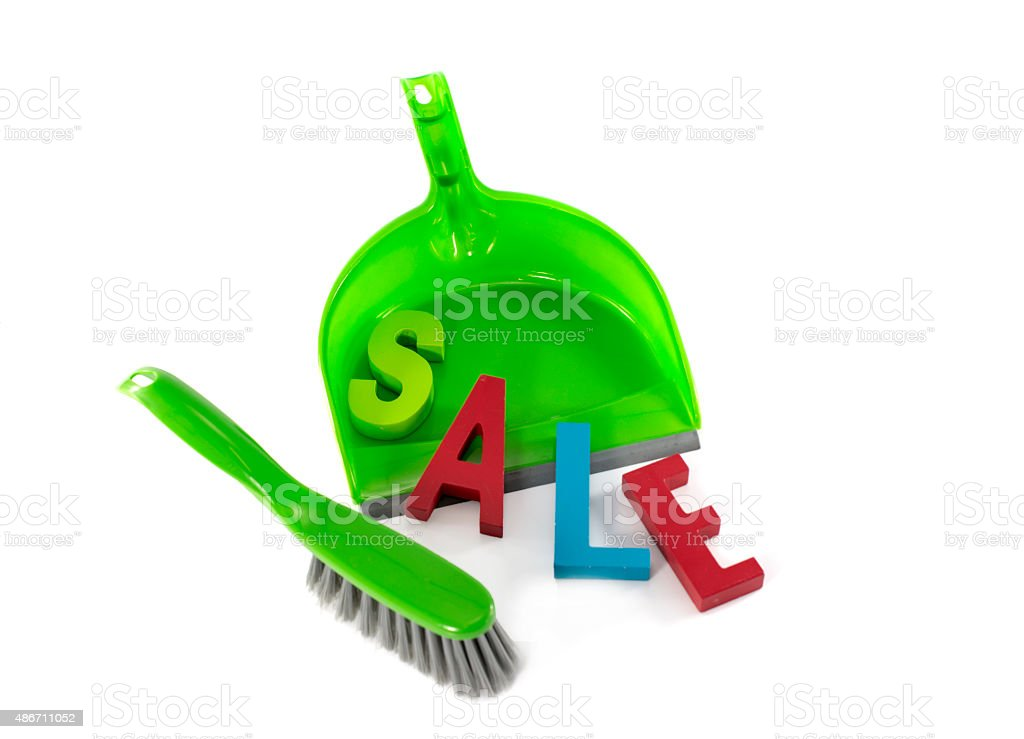 dustpan with sale stock photo