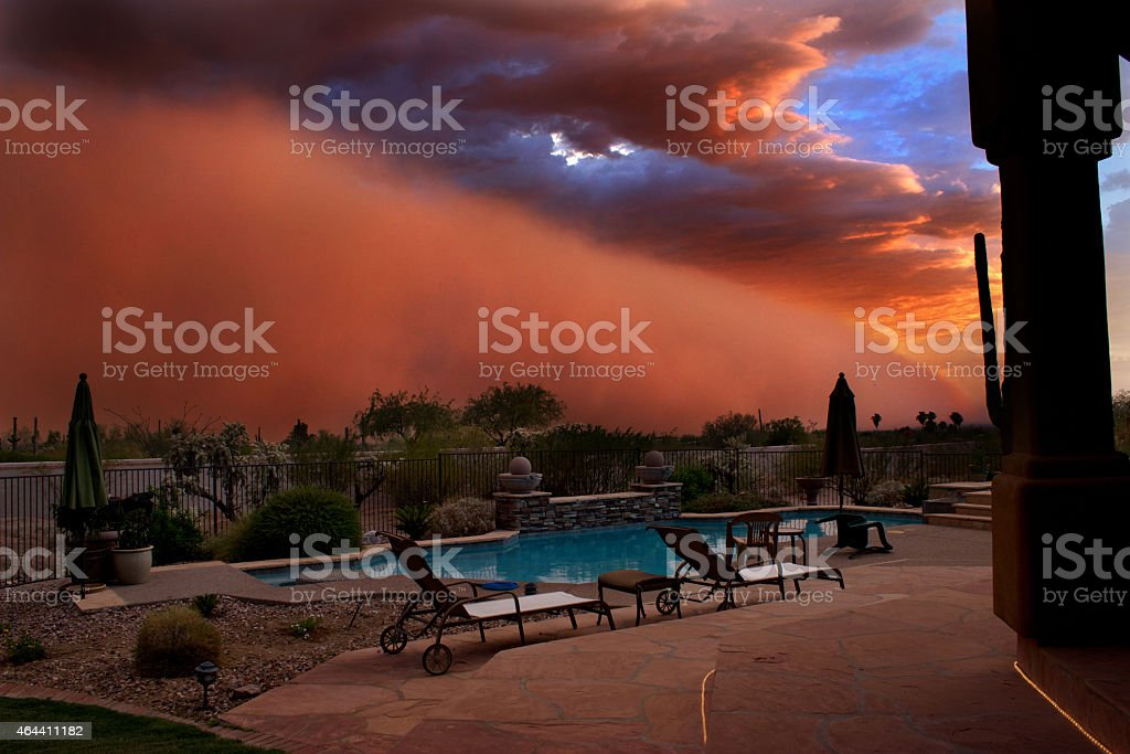Duststorm at Sunset stock photo