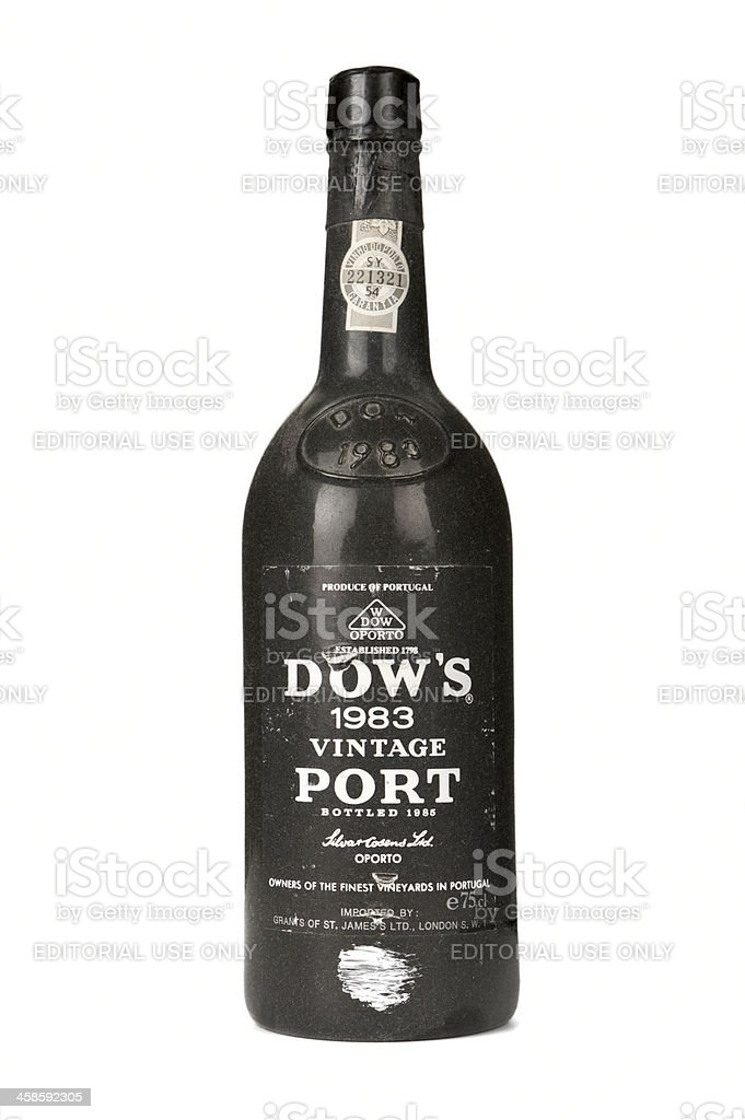Dusty bottle of Dow's 1983 Vintage Port on white background stock photo