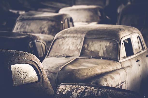 Dusty cars stock photo