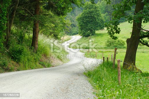 Road winding through fields and forests