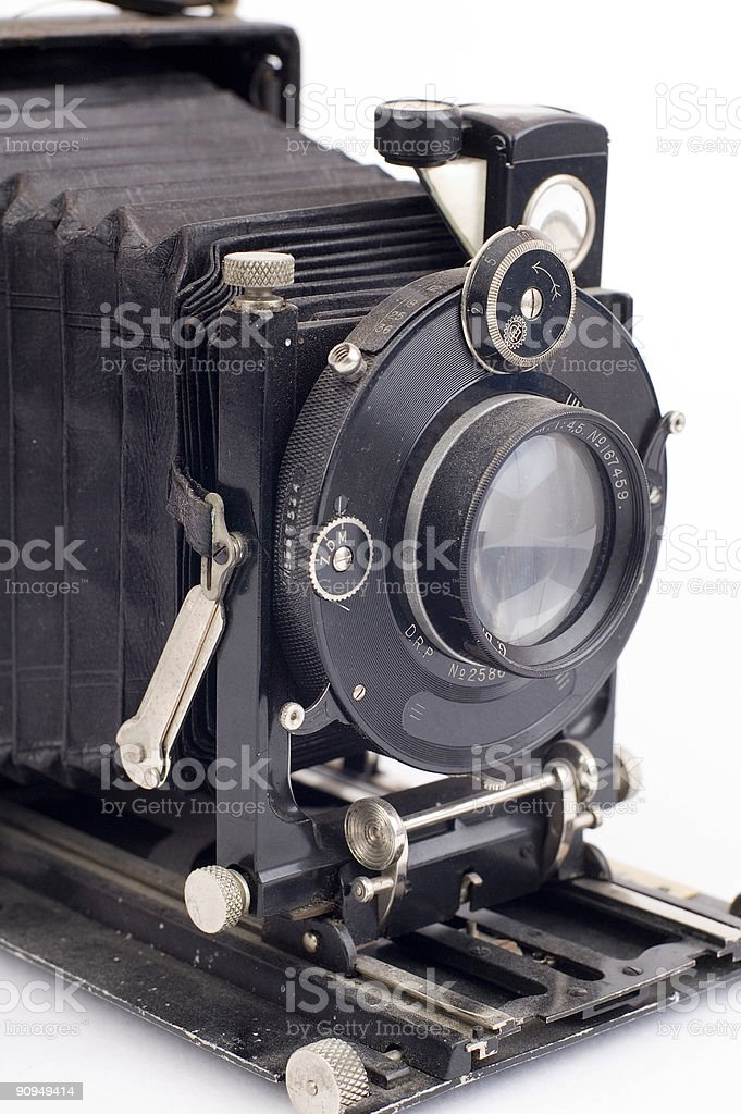 dusty folding camera stock photo