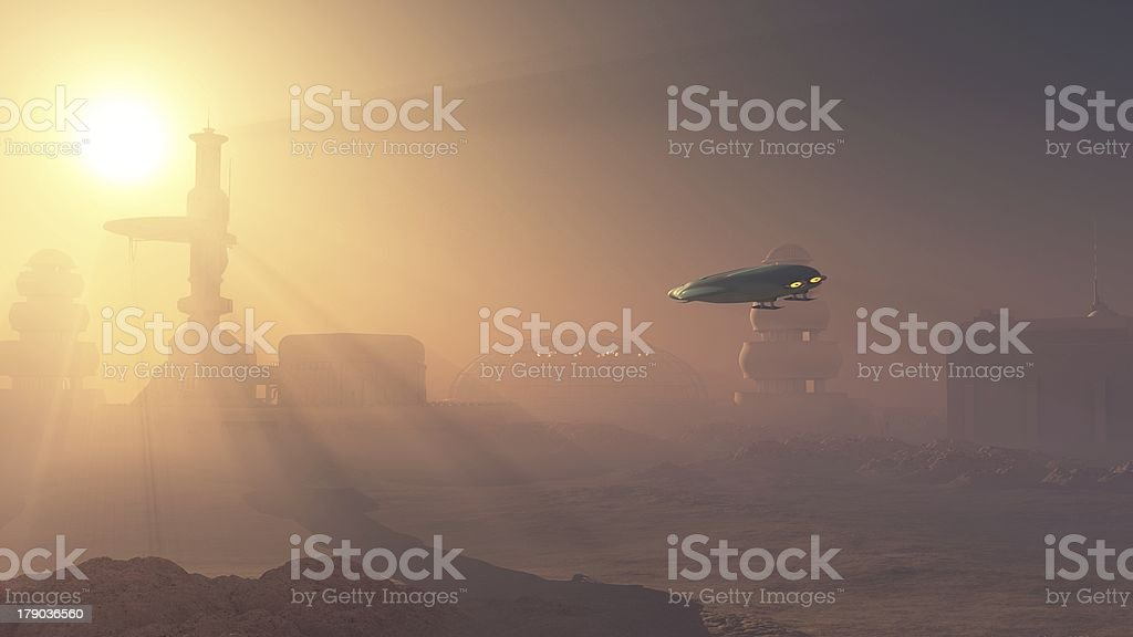 Dusty Landing on Mars Colonial Outpost stock photo