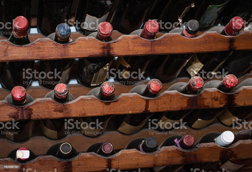 Dusty old bottles of wine. stock photo