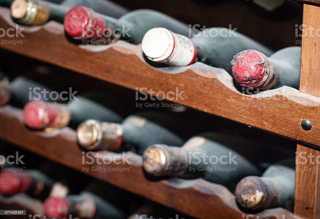 Dusty old bottles of wine. royalty-free stock photo