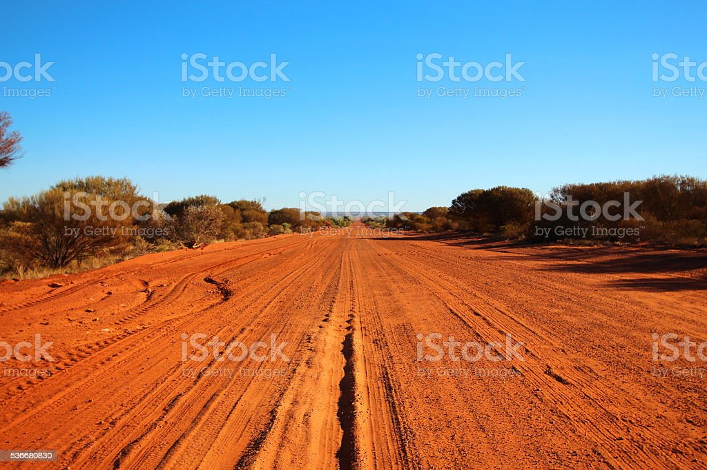 Dusty outback road, Australia stock photo