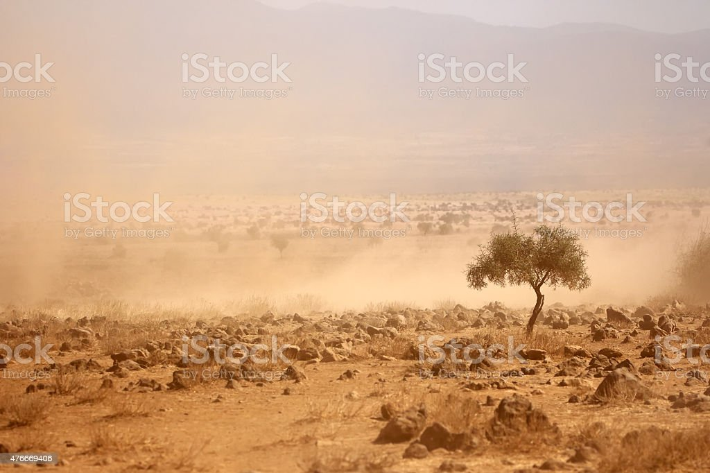 Dusty plains during a drought stock photo