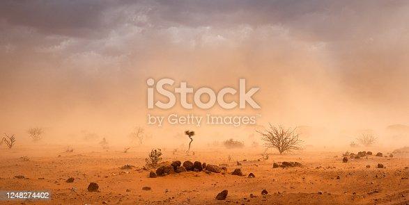 Dusty sandstorm in Hilaweyn refugee camp, Dollo Ado, Somalia region, Ethiopia, Africa