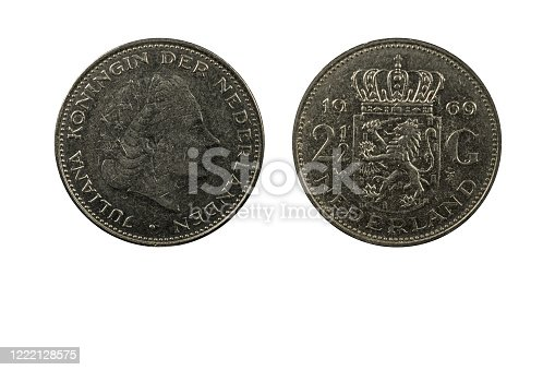 Dutch coin 2 gulden and half year 1969 obverse and reverse view macro close up on white background