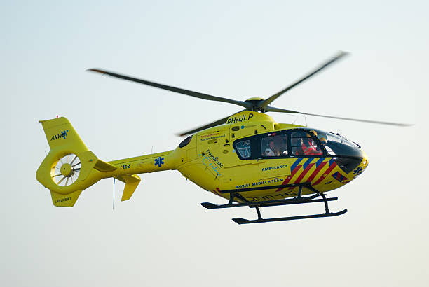 Dutch Air Ambulance Flying off stock photo