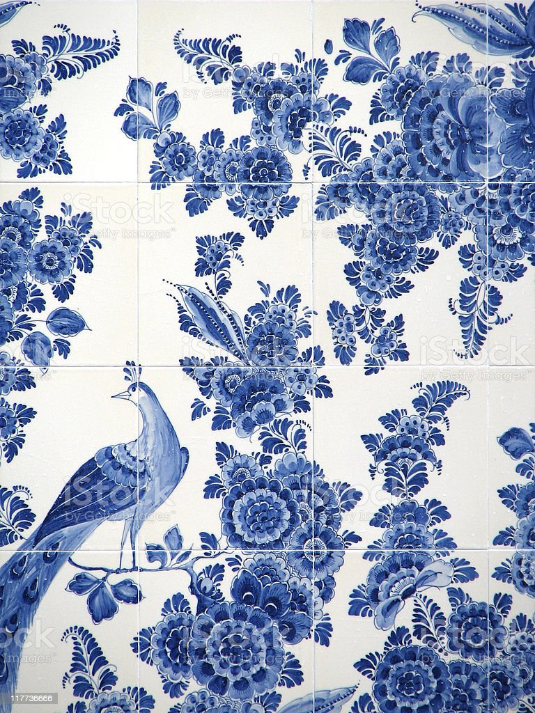 dutch blue tiles stock photo