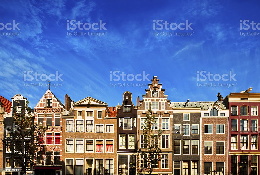 Dutch Canal Houses in Amsterdam royalty-free stock photo