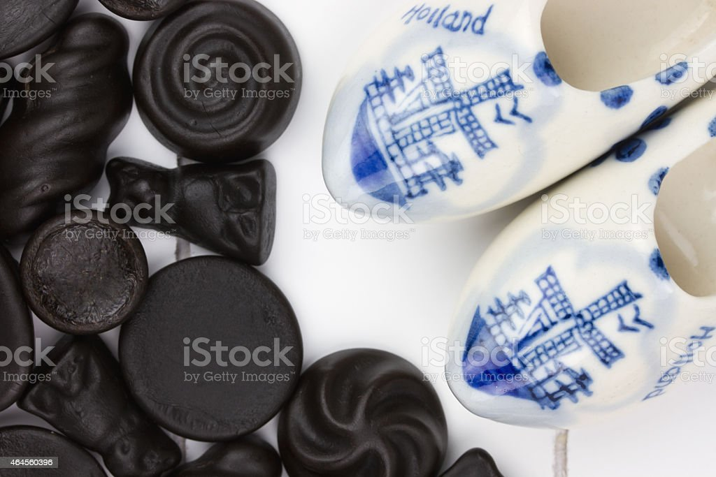 Dutch Candy Called Dropjes With Miniature Wooden Shoes Stock Photo