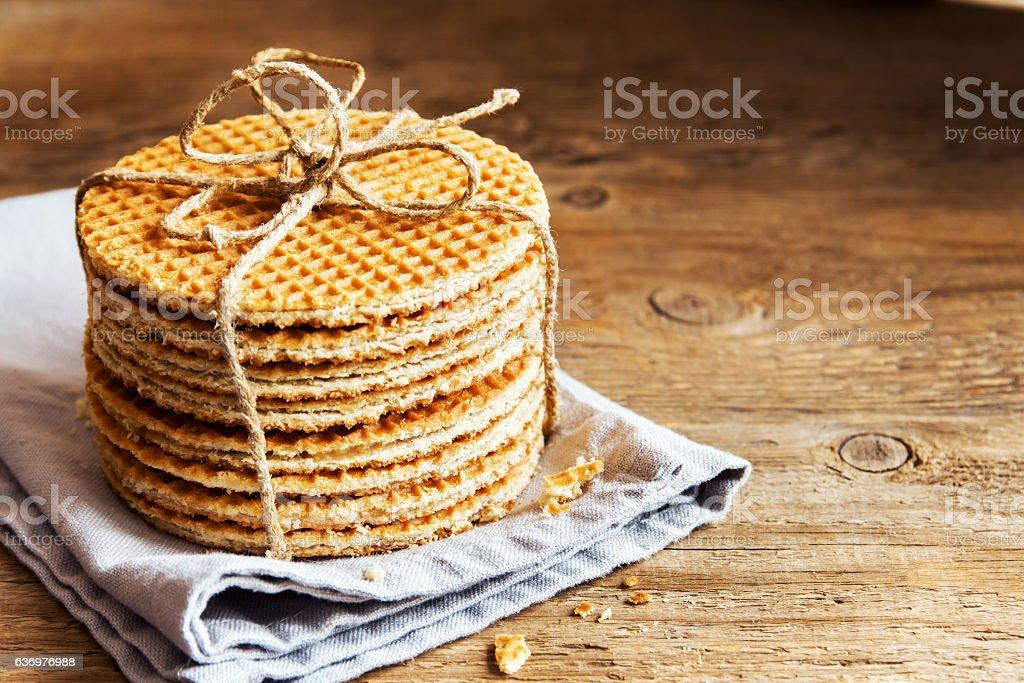 dutch caramel waffles stock photo