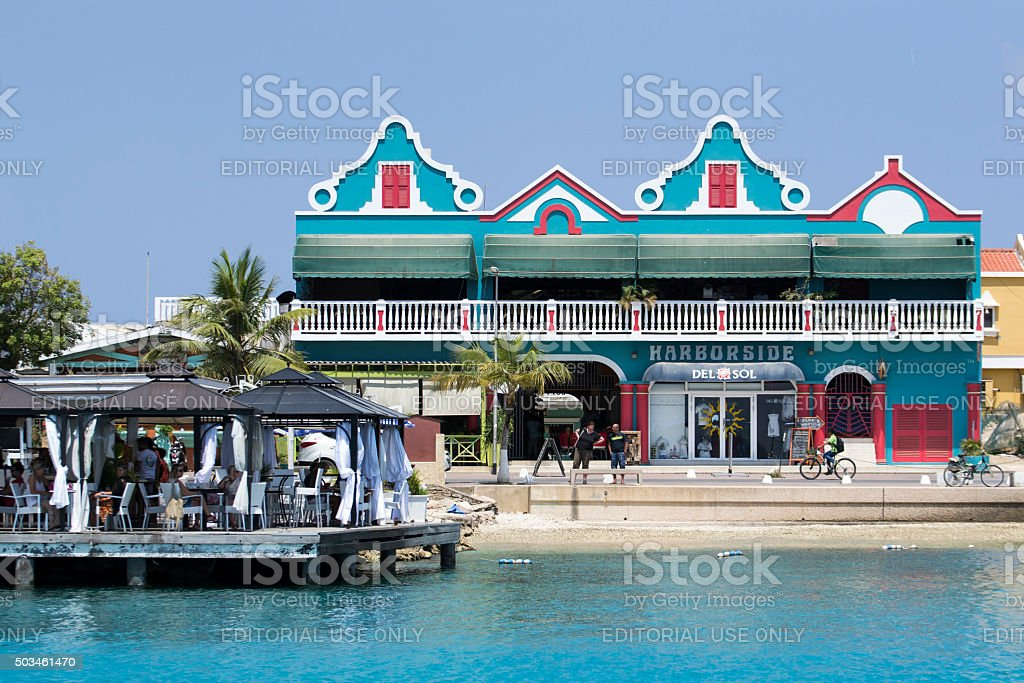 Dutch Caribbean building and life stock photo