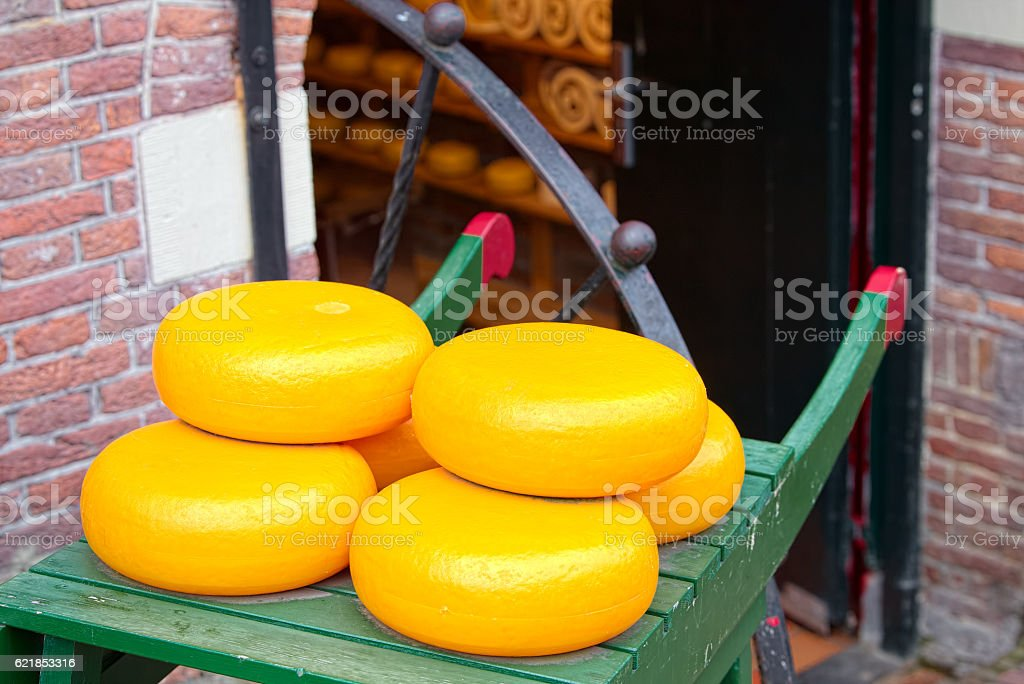 Dutch cheese forms exposed to clients stock photo