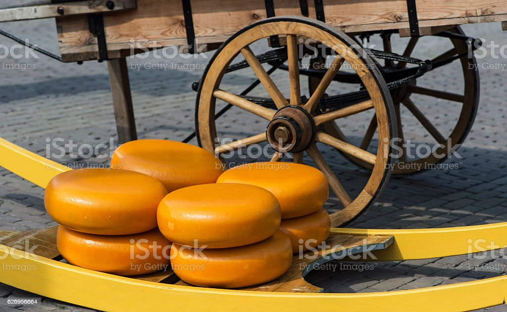Dutch cheese truckles stock photo