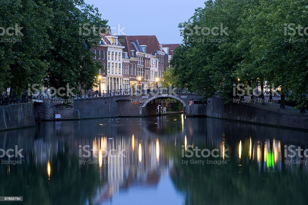 Dutch city scene in the evening stock photo