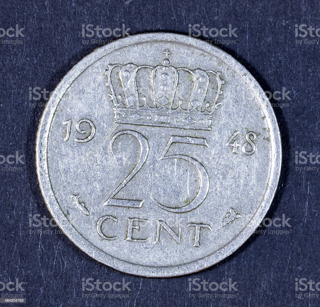 Dutch coin - Isolated on Black. royalty-free stock photo